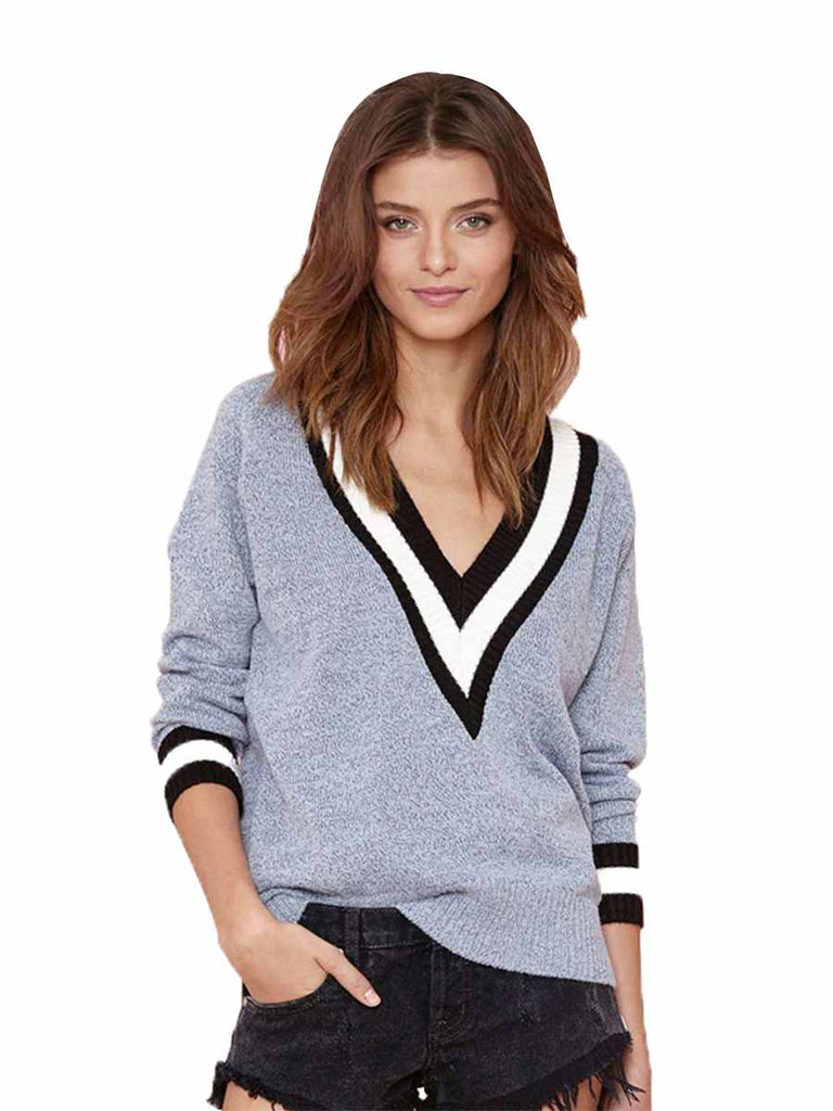 Knitted Sweater Fashion Loose Stripe V Neck Long Sleeve Jumper