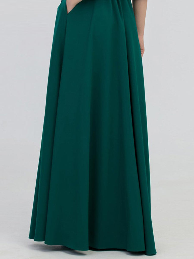 Solid Color Lantern O-neck Sleeves Casual Long Slim Dress With Belt