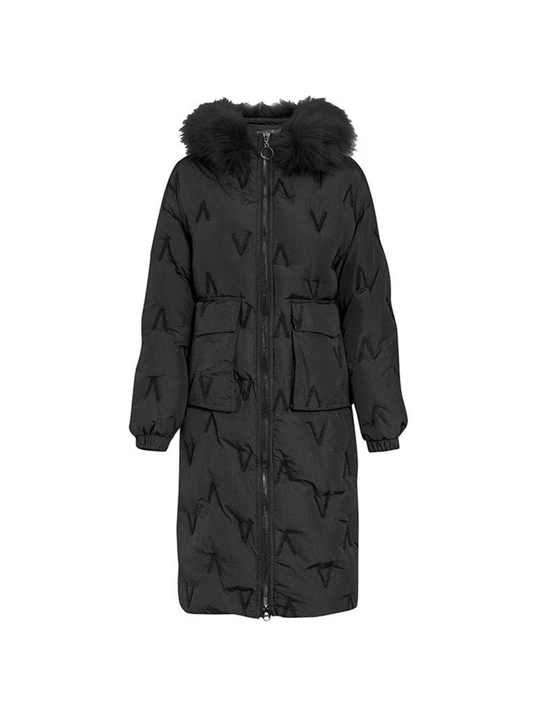 Ladies Overcoat Casual Hooded Embroidery Long Padded Coat