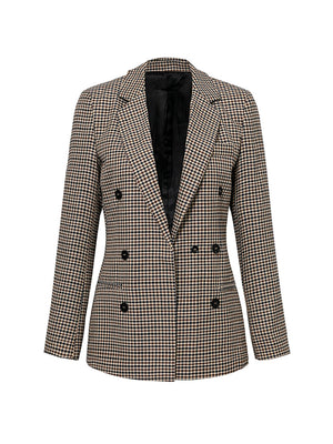 Ladies Outerwear Fashion Long Sleeve Double-breasted Plaid Blazer