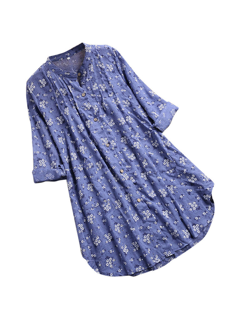 Womens Blouses V-Neck Pleated Floral Print Long Sleeve Top