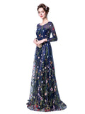 Womens Formal Dress Flowers Embroidery Long Sleeve Evening Dress