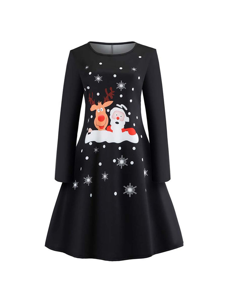 Christmas Dress Casual Long Sleeve Cute Pattern Dress