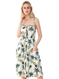Casual Pockets Design Print Button Sleeveless Slip Dresses