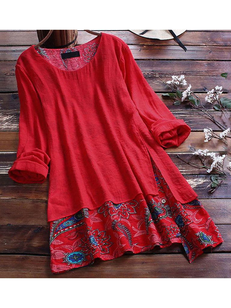 Vintage Tops Patchwork Long Sleeve O-neck Irregular Hem Print Shirt