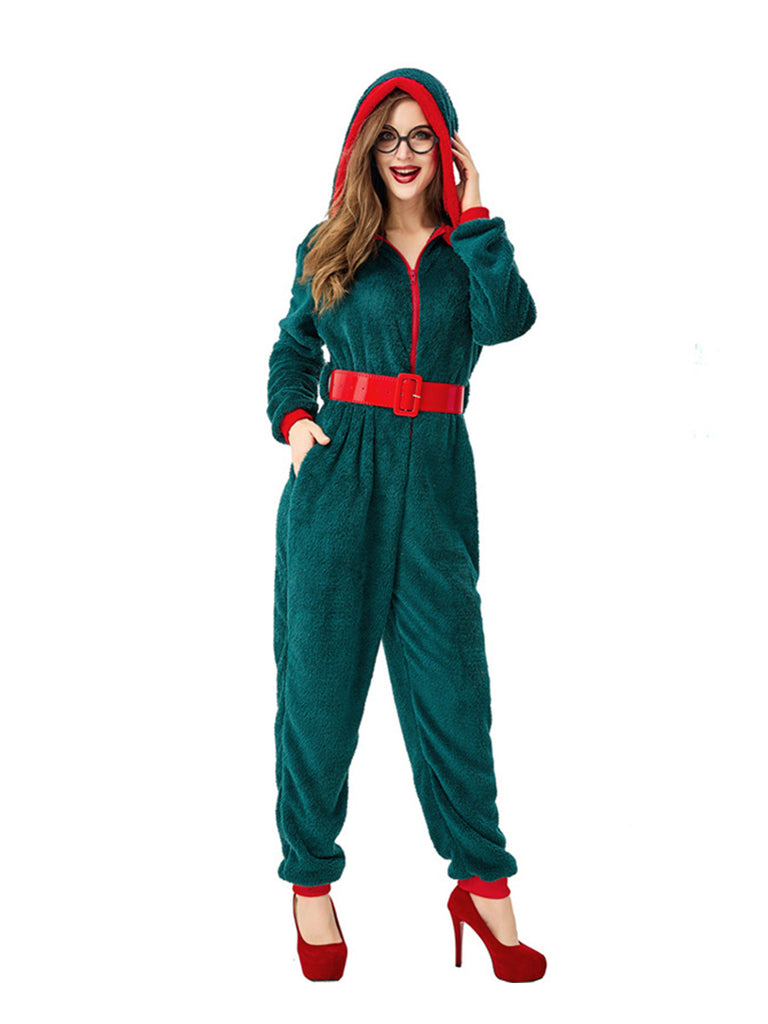 Fancy Party Homewear Adult Coral Velvet Christmas Jumpsuit Costume
