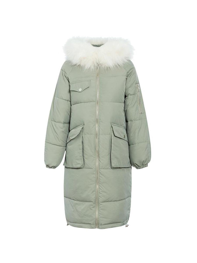 Ladies Outwear Warm Furry Hooded Long Padded Coat - Disable