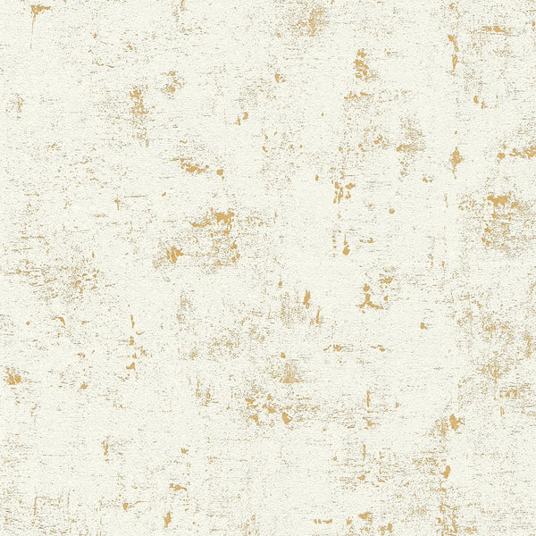 Concrete effect white/gold wallpaper - 230775