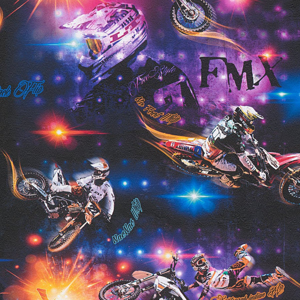 Boys & Girls motorbike multicoloured children wallpaper - 306561