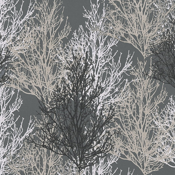 Adelaide dark grey/Silver Tree wallpaper - 348194