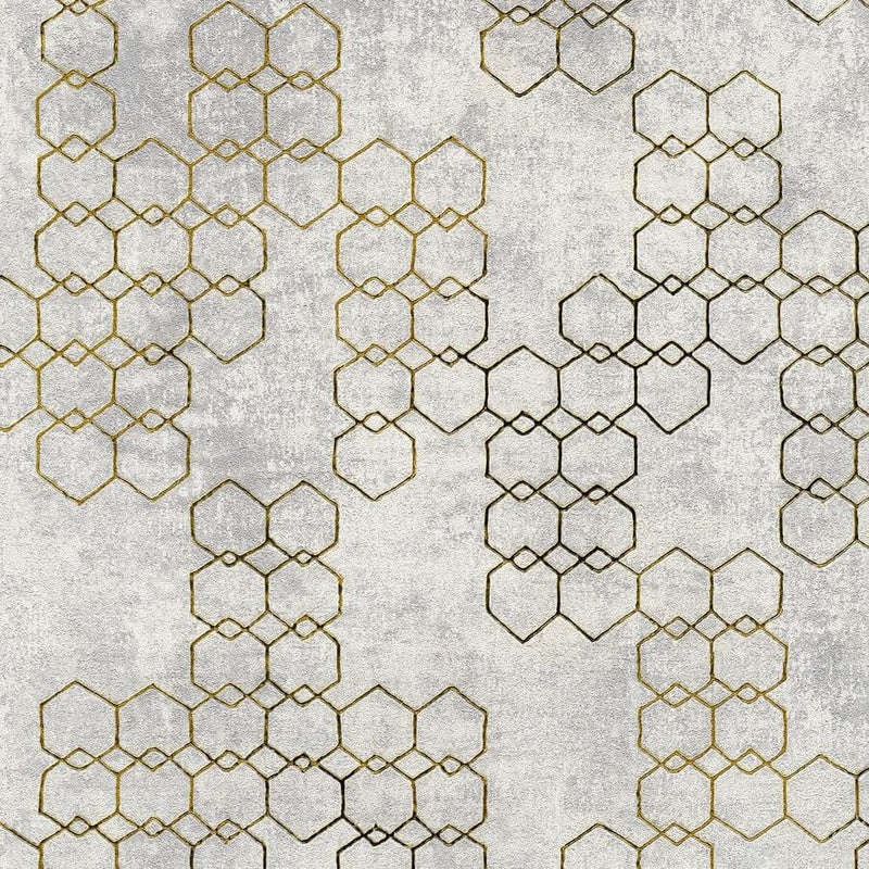 Living walls gold/grey metallic geometric wallpaper - 374244