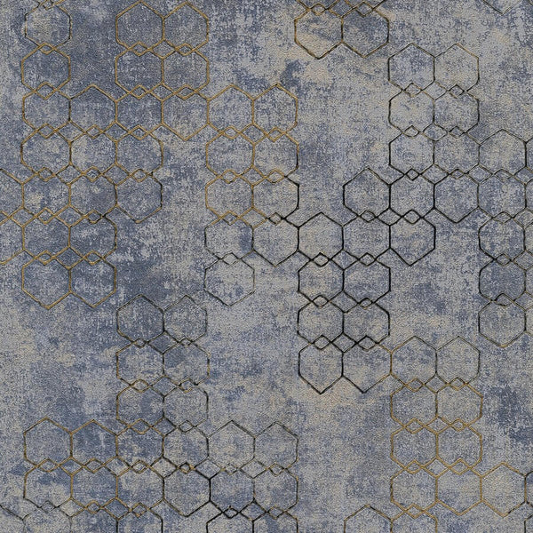 Living walls gold/grey/blue metallic geometric wallpaper - 374245