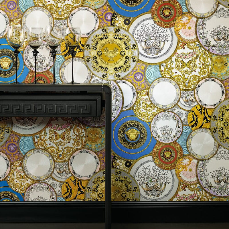 Versace Greek dishes plates multicoloured wallpaper - 349011