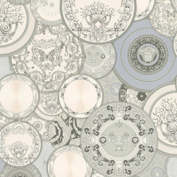 Versace Greek dishes plates silver wallpaper - 349013