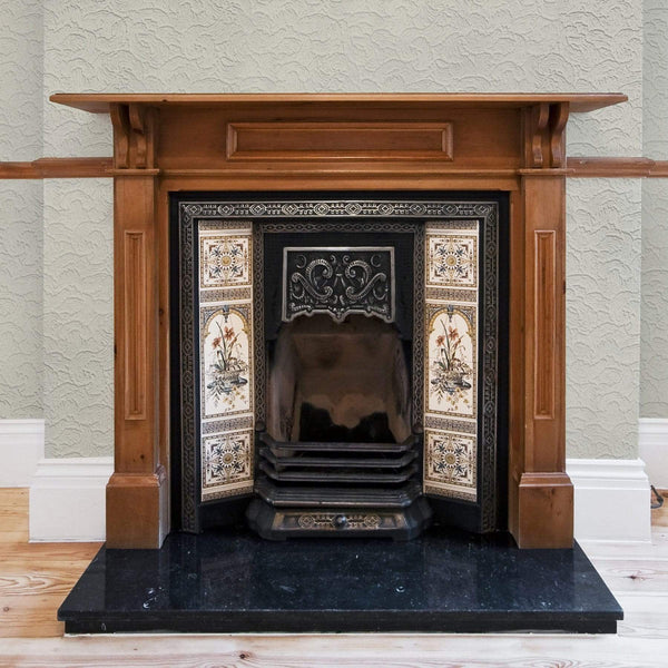 Anaglypta Luxury Vinyl Boyden - RD920 wallpaper around a traditional victorian fireplace