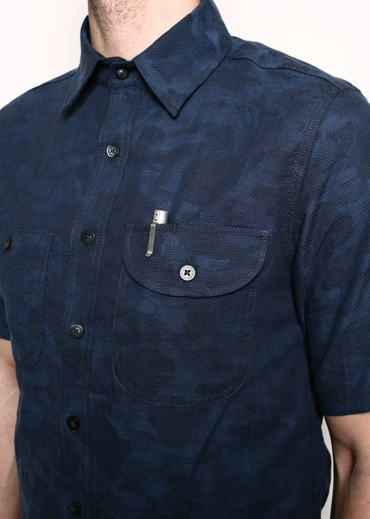 Rogue Territory - Work Shirt S/S Blue Camo Dobby