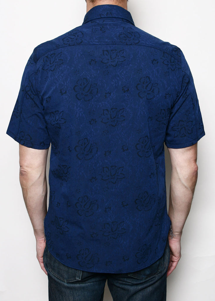 Rogue Territory - Work Shirt S/S Blue Floral Jacquard