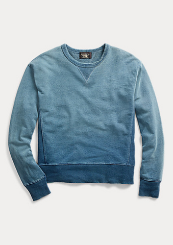 RRL - Indigo French Terry Sweatshirt - Washed Blue Indigo