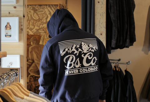 "BSCO - ""nod to golden"" - Champion Reverse Weave Pullover - Navy"