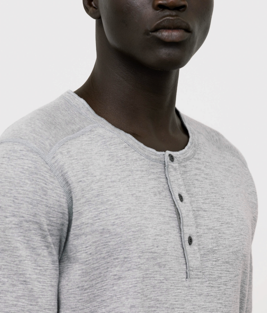 WINGS+HORNS 1x1 Slub Long Sleeve Henley- GREY