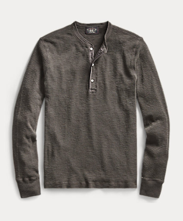 RRL Waffle-Knit Cotton Henley- BLK FADE