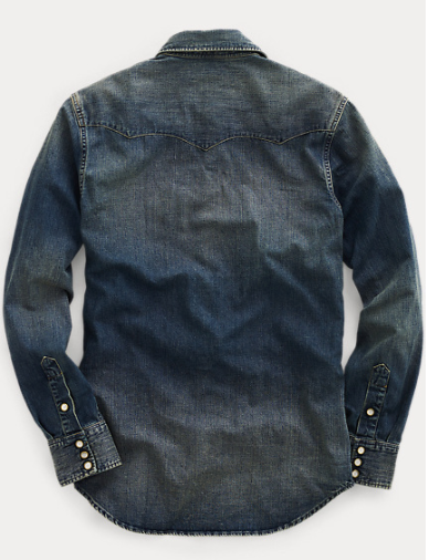 RRL Slim Fit Denim Western Shirt