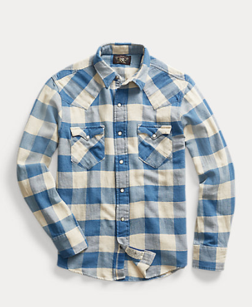 RRL Slim Plaid Twill Western Shirt