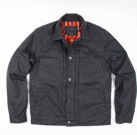 Freenote Cloth - RIDERS JACKET WAXED CANVAS - BLK