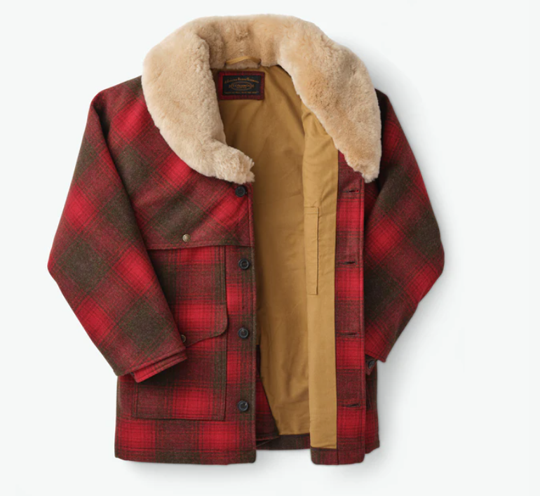 FILSON LINED WOOL PACKER COAT- Red/Green/Dark Brown Plaid