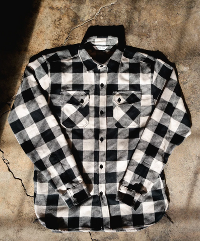 3SIXTEEN Drunk Check Crosscut Flannel BLK/WHT