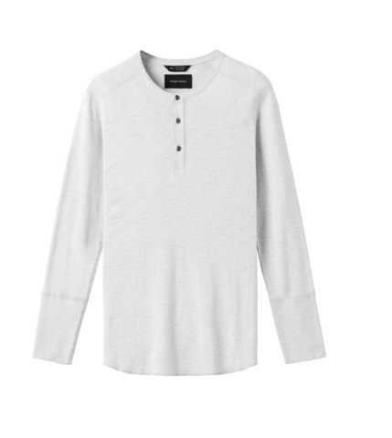 WINGS+HORNS 1x1 Slub Long Sleeve Henley- WHT