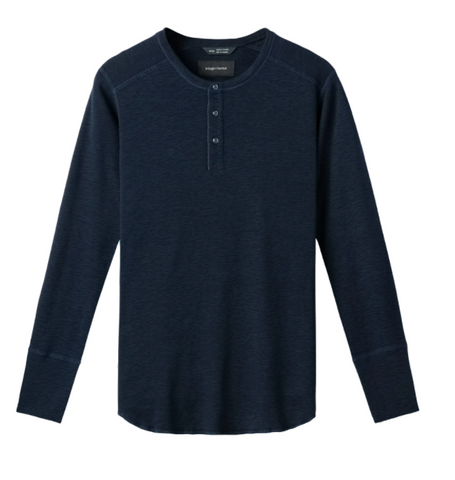 WINGS+HORNS 1x1 Slub Long Sleeve Henley- NAVY