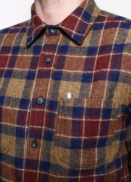 ROGUE TERRITORY Jumper Shirt Ochre Herringbone Plaid