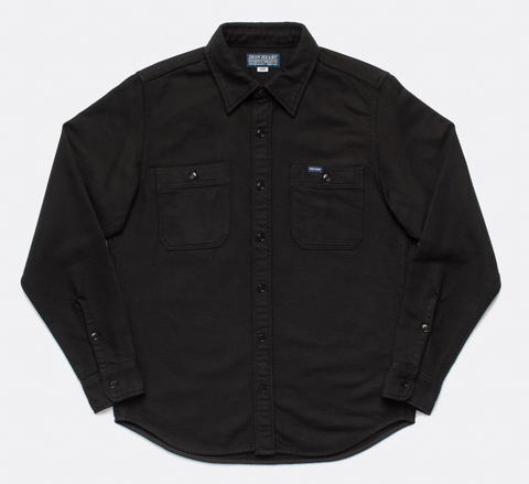 Iron Heart 7oz Soft Flannel Work Shirt - Black