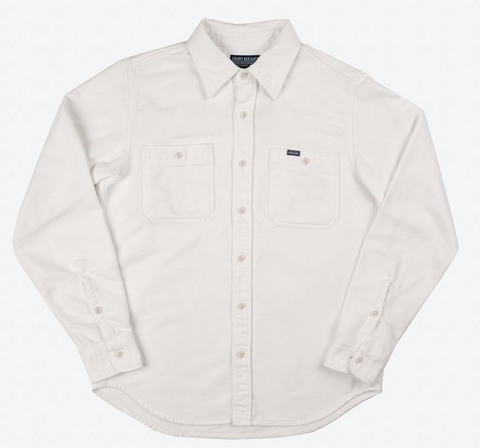 Iron Heart 7oz Soft Flannel Work Shirt - White