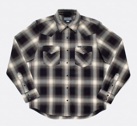 Iron Heart 9oz Selvedge Ombré Check Western Shirt - Indigo/Grey
