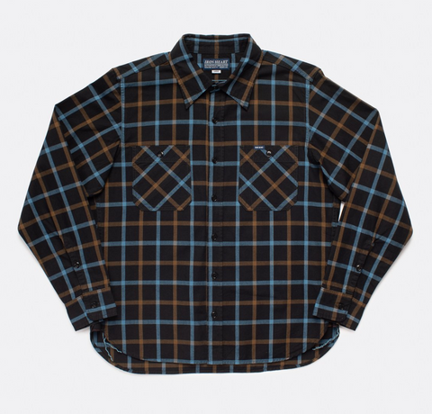IRON HEART 5oz Selvedge Tattersall Check Madras Work Shirt - Black