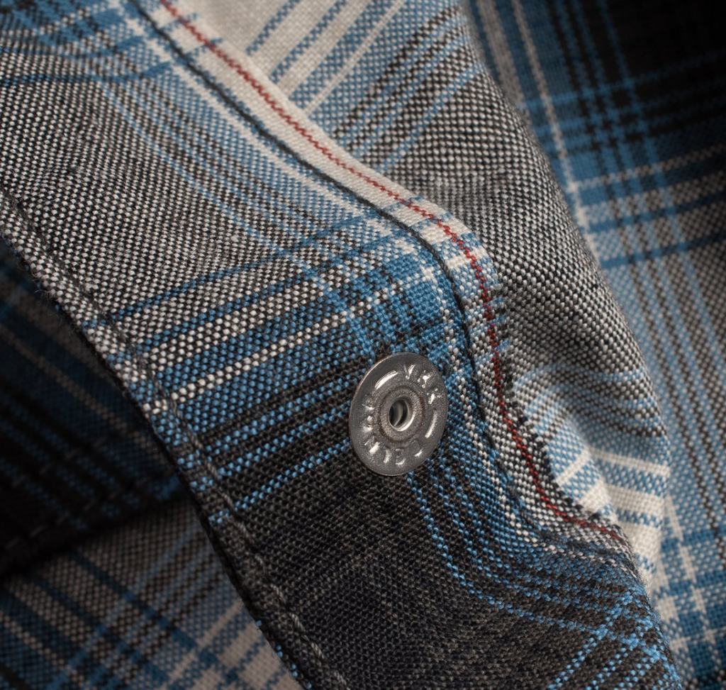 IRON HEART 5oz Selvedge Ombré Check Madras Western Shirt - Blue