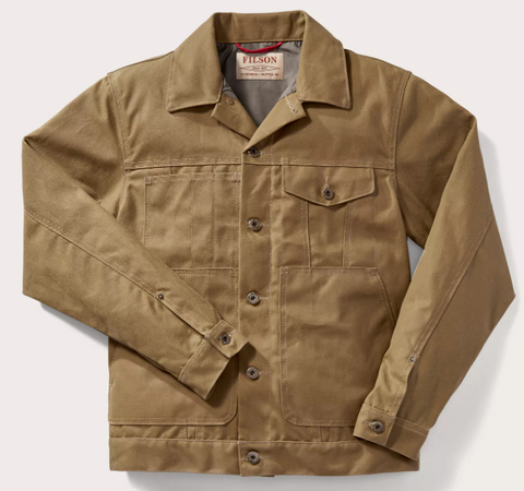 tin cloth short lined cruiser jacket - dark tan