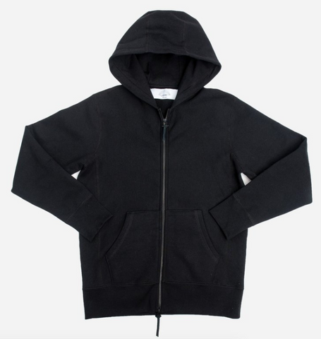 3sixteen heavyweight zip hoodie - black