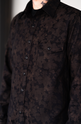 Rogue Territory - Oxford Work Shirt Brown Camo Jacquard