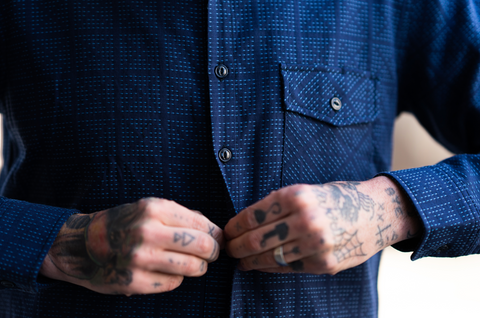 Rogue Territory - Oxford Work Shirt Navy X- Stitch Sashiko