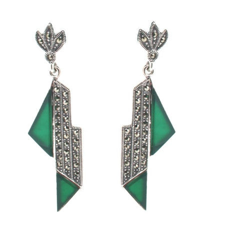 Marcasite Drop Earrings Green Agate with an Art Deco Style