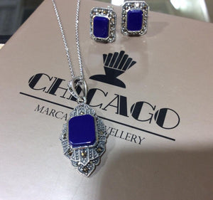 Lapis Marcasite Necklace - Vintage Style Jewellery by Chicago Marcasite Jewellery