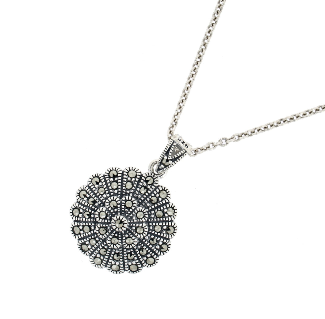 Marcasite Pendant & Chain - Vintage Style Jewellery by Chicago Marcasite Jewellery