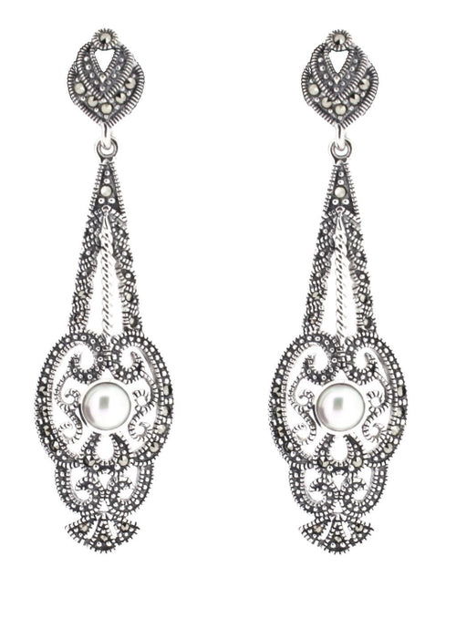 Freshwater Pearl Earrings - Vintage Style Jewellery by Chicago Marcasite Jewellery