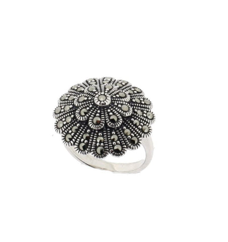 AB102 Round Silver Marcasite Ring