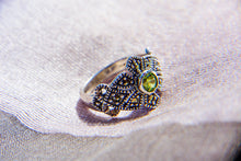 Load image into Gallery viewer, Peridot Marcasite Ring - Vintage Style Jewellery by Chicago Marcasite Jewellery