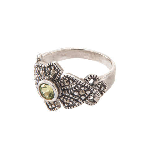 Peridot Marcasite Ring - Chicago Marcasite Jewellery