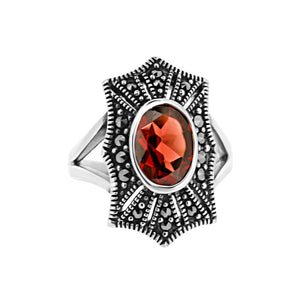 Red Garnet Marcasite Ring in Sterling Silver - Vintage Style Jewellery by Chicago Marcasite Jewellery